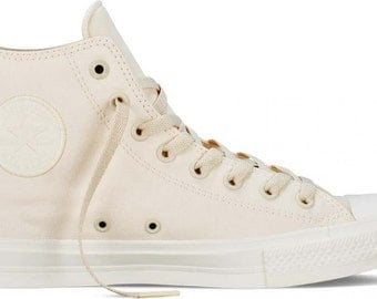 Converse Chuck Taylor II Monochromatic Ivory Unbleach Cream Bone White Bling High Top w/ Swarovski Crystal Rhinestone All Star Sneaker Shoe