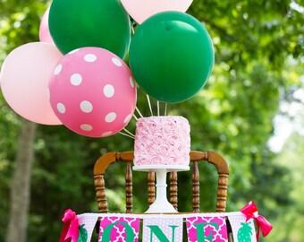 STRAWBERRY BIRTHDAY BANNER / First birthday girl / Strawberry banner / One highchair banner / 1st birthday banner / First birthday girl