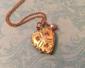 Vintage Sterling Heart Locket, Rose Gold Accents and Chain, Pearl Drop, Wedding Locket, Gift for Her