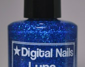 Luna : an insane sparklefest of ultramarine holographic glitter nail lacquer by Digital Nails