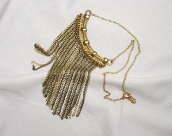 Fringe Tassel Necklace Antiqued Gold mixed with Gold Plated Chain