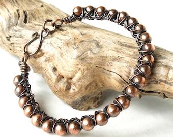 Copper bead bracelet wire wrapped