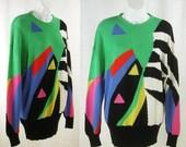 Vtg 80's-90's ~ESCADA-Margretha Ley~ Random color forms Artsy Knit Sweater Jumper