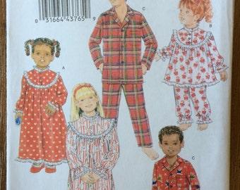 UNCUT Girl's & Boy's Toddler Child's Pajamas Pattern Butterick 5586 Size 2-3-4-5-6-7-8-10 Night Gown, Pajama Pants, Set, Christmas Pajamas