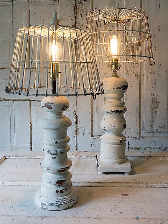 wooden baluster table lamp rustic farmhouse distressed wood. Black Bedroom Furniture Sets. Home Design Ideas