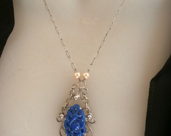Art Deco Carved Blue Celluloid Filigree Necklace