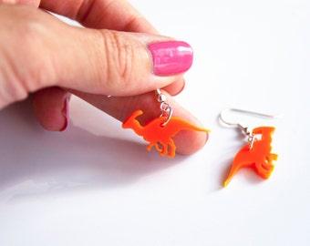 Parasaurolphus Dinosaur Drop Earrings. Laser Cut Acrylic Dangly Earrings. Jurassic Park. Dinosaur Jewellery. For Her.