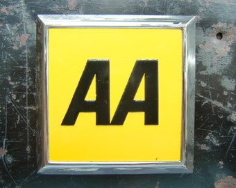 Vintage Square AA Automobile Car Badge-  like new