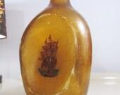 Vintage Large Pinched Glass Bottle   Vintage Glass Decanter Bottle  Souvenir Bottle