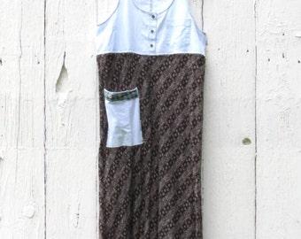 Artsy Dress - Boho eco chic sundress - Anthropologie inspired free people clothing - recycled repurposed upcycled dress - womans medium