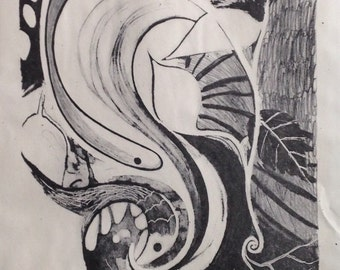 Flood by Carla Katznelson, Canadian Artist, lithograph on paper