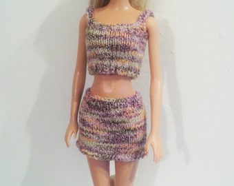Knitted Tank Top and Skirt  set for Barbie