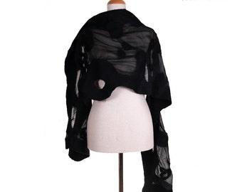 SALE!!!  black felted scarf, felted shawl, silk, wool, felt, artistic shawl, felted wearable shawl  eco wool scarf  elegant