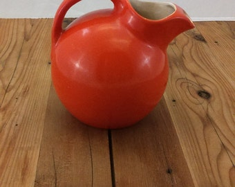 Orange Glazed Rumrill Redwing Pottery tilt ball Pitcher 547
