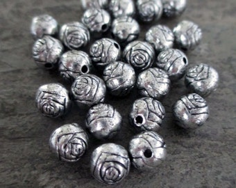 8 mm silver toned rose beads round engraved rosary supplies, lot of 20 pcs