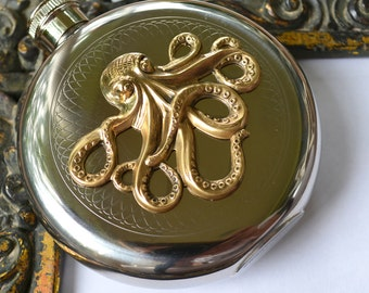 Octopus Flasks, Round Flasks, Silver Flasks, Nautical Flask, Gifts for Best Man, Silver Octopus, Boyfriend Gifts, Gifts for Husband,