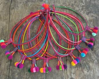 Wholesale BOHO Choker Necklace Handcrafted Pom Pom Choker Necklace Silk Fabric Pom Pom Necklace Wholesale Jewelry Wholesale Necklace