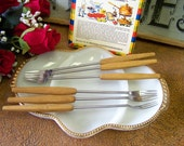 Vintage Fondue Forks, Stainless Steel With Wooden Handles, Made in Germany With Box - tithriftstore.etsy