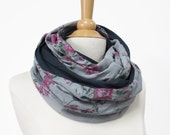 Jersey Scarf gray blue flowered fabric Infinity scarf handmade Circle Scarf Loop Cowl Snood