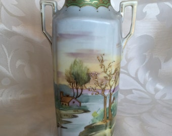 Vase, Hand Painted Cottage Scene, Early Japan, Nippon