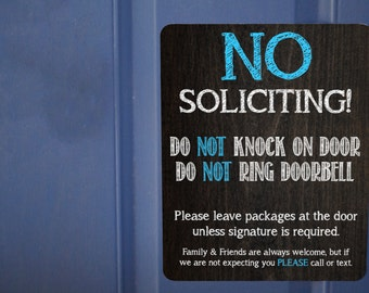 No Solicitation Magnet,  Do Not Ring Doorbell Magnet, Do Not Knock on Door Magnet, Front Door Magnet, No Soliciting, No Solicitation Sign