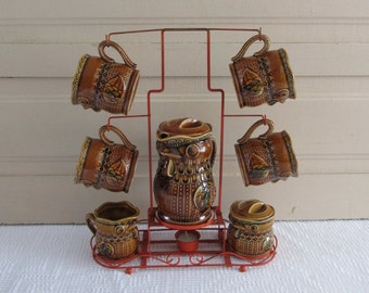 Mid Century Owl Coffee Serving Set Chicken Coffee, Rooster Coffee