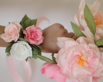 wedding corsage flower corsage flower bracelet wedding bracelet mom corsage flowergirl corsage bridesmaids bracelets paper flower corsage