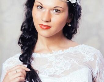 White and Silver Bridal Crown with Silk Flowers - White Bridal Hair Wreath - White Wedding Hair Vine