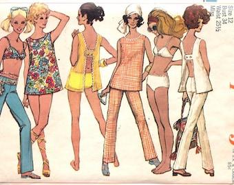 "Vintage 1969 Simplicity 8153 Mod top, Hip-Hugger Pants & Two-Piece Bathing Suit Sewing Pattern Size 12 Bust 34"""