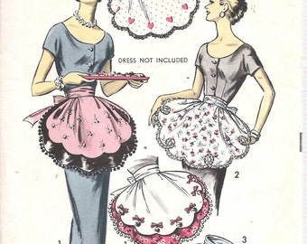 Vintage  1958 Advance 8462 Petal Reversible Half Apron Sewing Pattern One Size