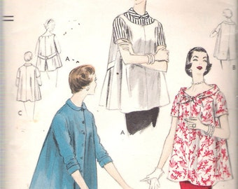 "Vintage 1955 Vogue 8555 Maternity Tops & Blouse Sewing Pattern Size 14 Bust 32"" UNUSED"
