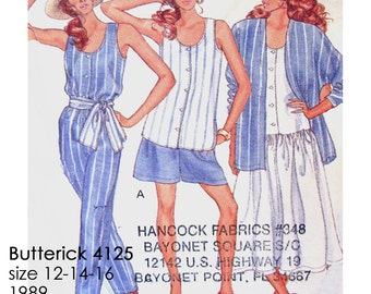Butterick 4125 Fast & Easy: Jacket Top Dress Shorts Pants and Sash Sewing Pattern - UNCUT - Size 12-14-16 - Vintage 1989