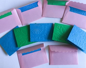 SALE!!! Handmade  Mini Cards - Green Leaves - Pink Mini Envelopes -Embossed - handmade - thank you cards - Saphire blue mini notes