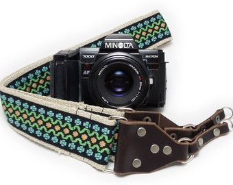 Hemp Camera Strap - Black Vintage Style Woven Ribbon on Organic Hemp Webbing and Leather Ends - works with DSLR, SLR and Manual Cameras