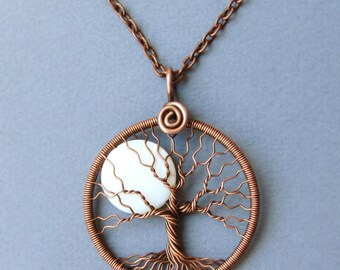 White-Moon pendant Super Moon Tree of life Full Moon necklace Big-Moon pendant copper round-pendant Lunar jewelry Diameter 1.7 inches