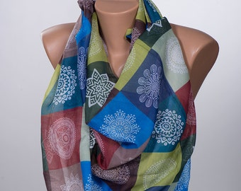 Colorful snowflake Scarf Wrap. Long neck wrap. Holiday Scarf. Spring women wrap.