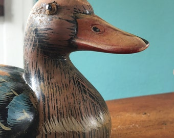 Vintage Ceramic Duck Decoy, Handpainted with Glass Eyes