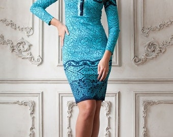 "Knitted dress ""Sea Breeze"" in bright color aqua blue with collar"