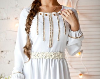 """Long dress """"Svetelka"""" in Slavic Russian style, fit well as a dress for a wedding. Maxi dress"""