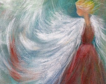 5x7 Abstract Angel Painting, Fine Art Print, Home Decor, Print of Painting, Gift for Her