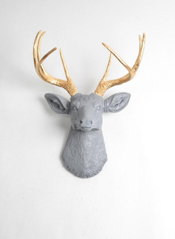 Faux Taxidermy Deer Head The Isla Gray Gold Resin Deer