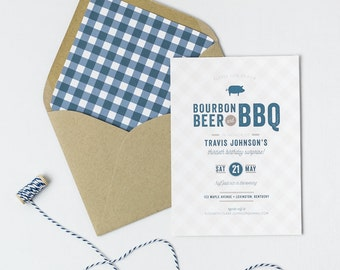 Bourbon, Beer & BBQ Birthday Invitation | Surprise 30th Party | Pig Roast | Rehearsal Dinner | Gingham | Printed or Digital File DIY