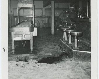 Bar Interior, Floor Stain, Olympic Shuffleboard, 1950s Vintage Snapshot Photo (65465)