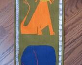 Vintage Height Chart - Growth Chart - Midcentury Animal Screen Print - Lion Elephant Giraffe Camel