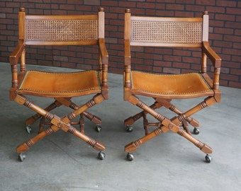 Directors Chairs / Designer Chairs / Cane and Leather Directors Chairs / Accent Chairs / Pair of Chairs