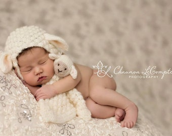 Newborn Lamb Bonnet with Matching Lovey Photography Prop, MADE TO ORDER