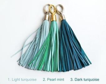 Leather Tassel, Light turquoise, Pearl mint or Turquoise long tassel, Large tassel