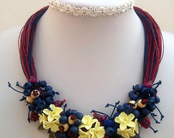 Statement Necklace, Flower Necklace, Flower Jewelry, Vanilla Jewelry, Blue Jewelry, Handmade Necklace, Floral Fashion, Gift For Her, Floral