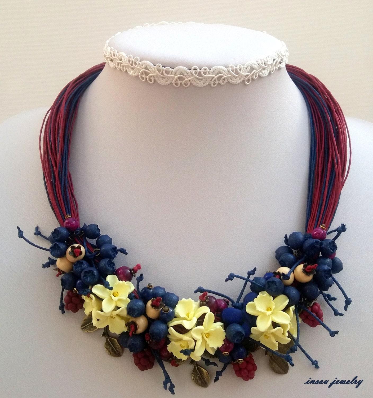 Statement Necklace Flower Necklace Flower Jewelry by insoujewelry