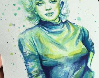 Marilyn Monroe Watercolor Portrait, Marilyn Monroe Painting, Marilyn Monroe  Art, Original Artwork, American Pop Icon, Actress, Model, 9x12